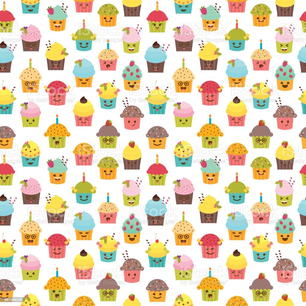 Seamless pattern with cupcakes and muffins. Kawaii cupcakes. Cute cartoon characters, emoji. Birthday background vector art illustration