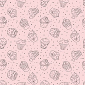 Seamless pattern with cupcakes on pink background.