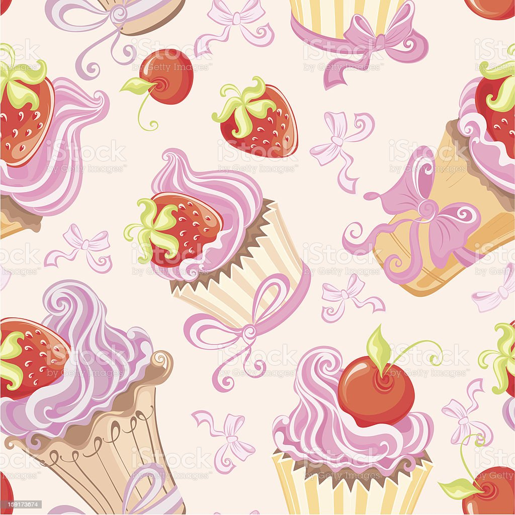Seamless pattern with cupcakes royalty-free stock vector art