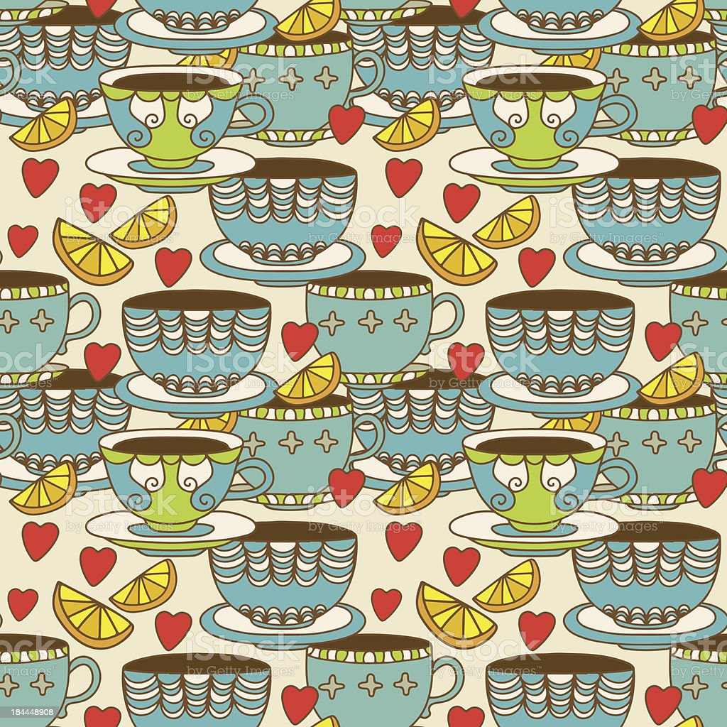 Seamless pattern with cups, lemons and  hearts royalty-free seamless pattern with cups lemons and hearts stock vector art & more images of abstract