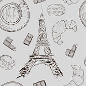 Seamless pattern with cups of coffee, chocolate, macaroons, croissants and Eiffel Tower in vintage style