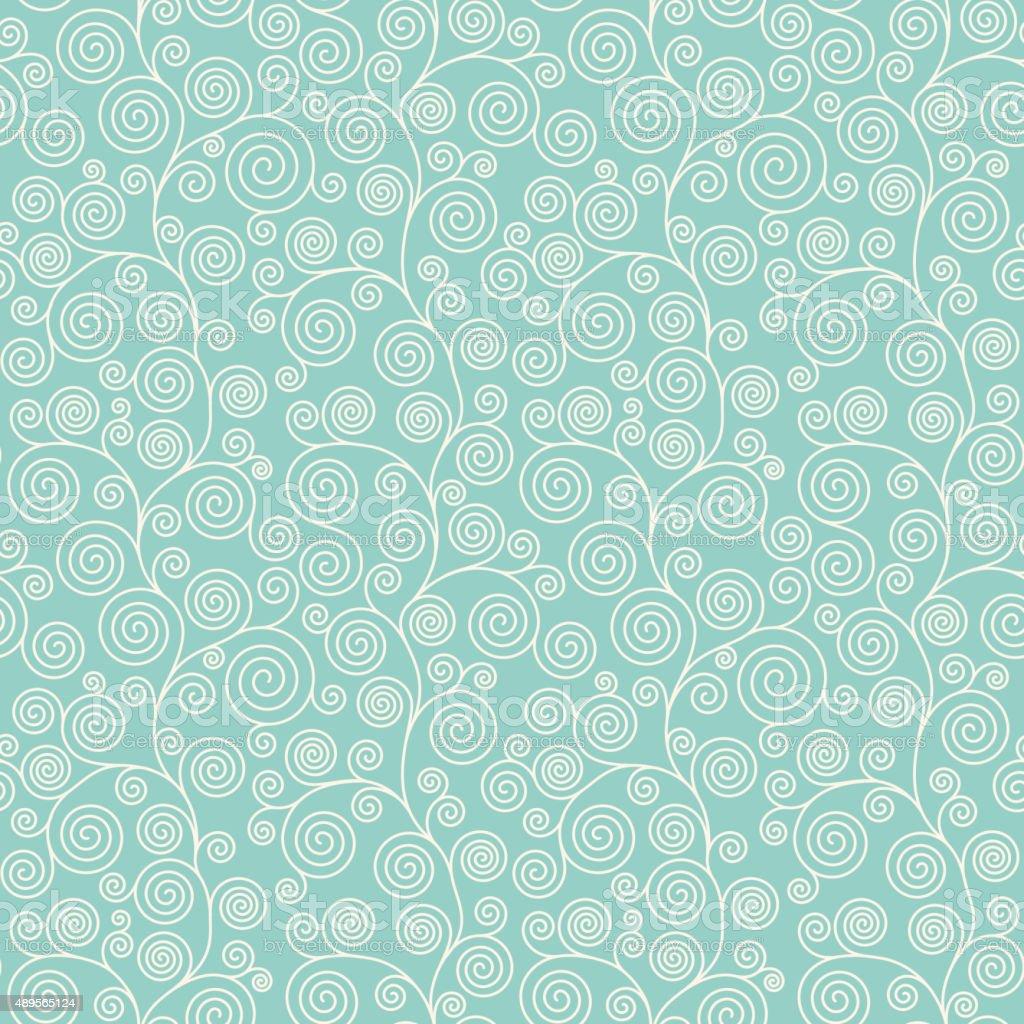 Seamless pattern with curvy spirals vector art illustration