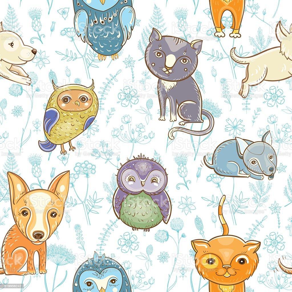 シームレスパターンにかわいい動物花の背景 のイラスト素材 519958242