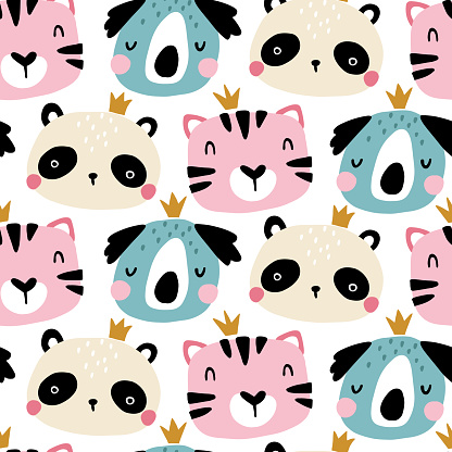 Seamless pattern with cute animals faces. Childish print for nursery in a Scandinavian style. For baby clothes, interior, packaging. Vector cartoon illustration in pastel colors