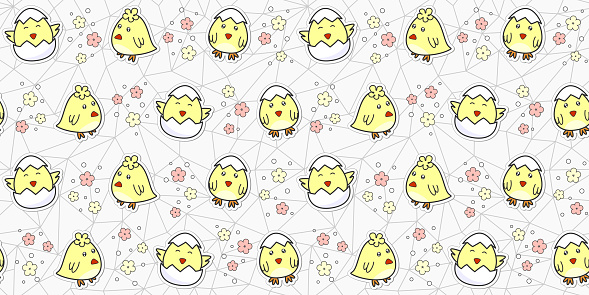 Seamless pattern with cute baby chick and flowers on a gray geometric polygonal background