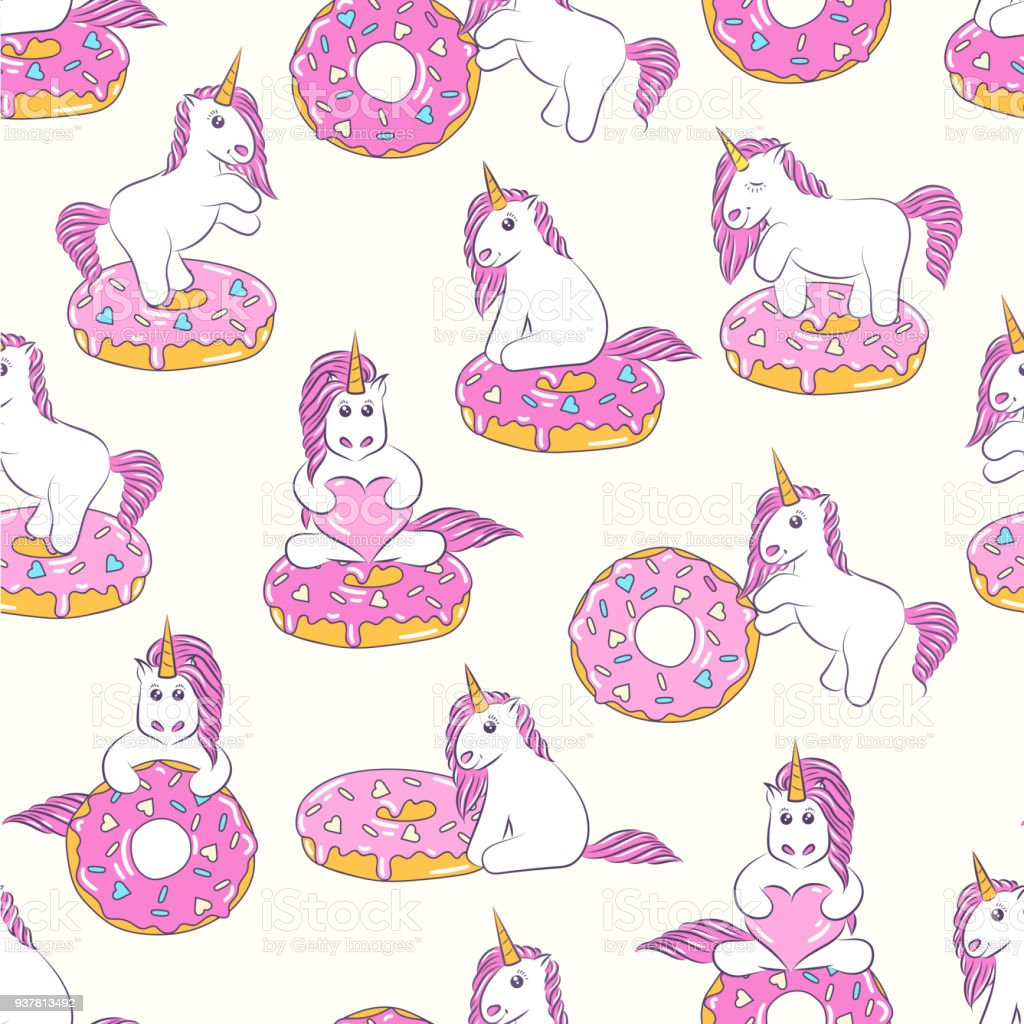 Seamless Pattern With Cute Baby Unicorns And Donuts Background For Kids Design Can