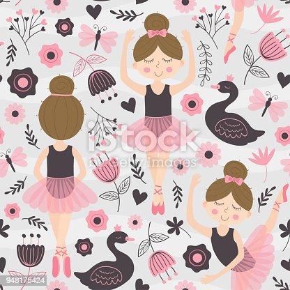 istock seamless pattern with cute ballerina girl 948175424