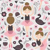 seamless pattern with cute ballerina girl - vector illustration, eps