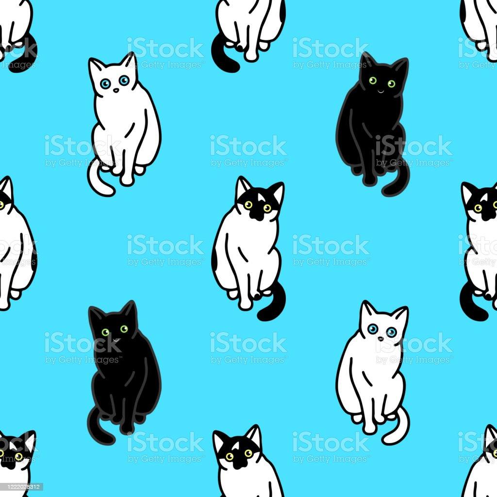 かわいい黒と白の猫とのシームレスなパターン壁紙文房具布ラップウェブページの背景ベクトルイラストのためのテクスチャ いたずら書きのベクターアート素材や画像を多数ご用意 Istock