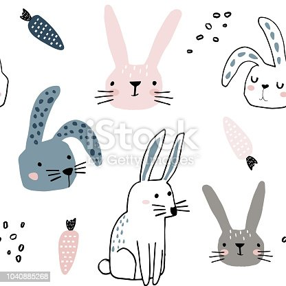 istock Seamless pattern with cute bunnies and carrots . Creative childish background. Perfect for kids apparel,fabric, textile, nursery decoration,wrapping paper.Vector Illustration 1040885268