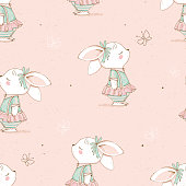 Seamless pattern with cute Bunny