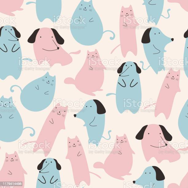 Seamless pattern with cute cat and dog animal pastel colors blue and vector id1179414498?b=1&k=6&m=1179414498&s=612x612&h=mifxacdhutdperouhopw7 9g9xfgsk8jd75v9enx2bm=