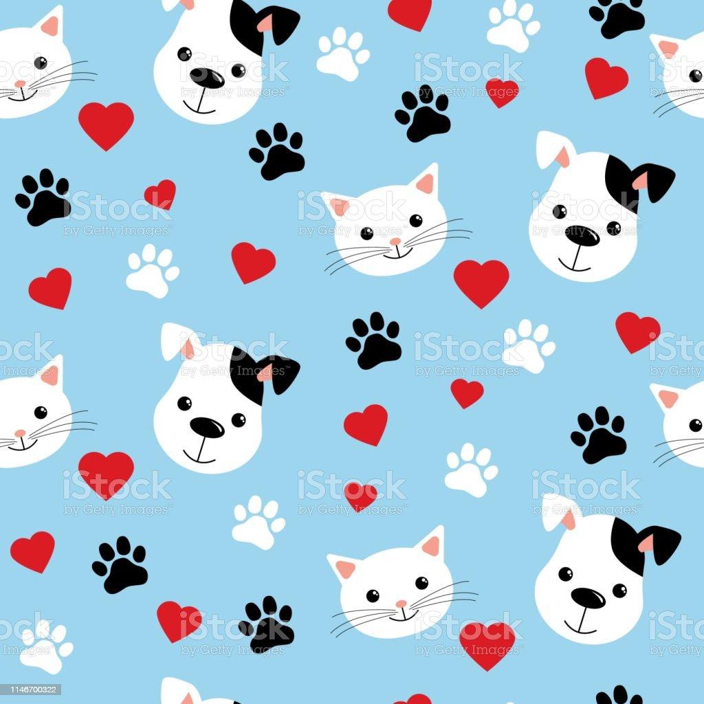 かわいい猫と犬とのシームレスなパターン子供のための生地テキスタイル