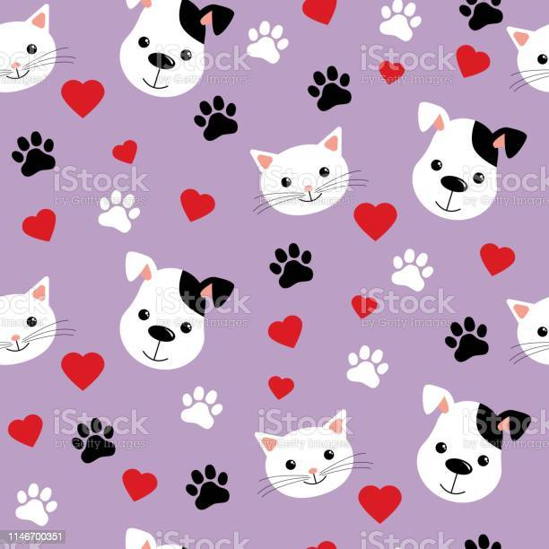 Seamless pattern with cute cats and dogs lovely vector illustration vector id1146700351?b=1&k=6&m=1146700351&s=612x612&h=b1jc8o8pfislonwm5cc6vjgzwobig 5pydqur7ptnr0=