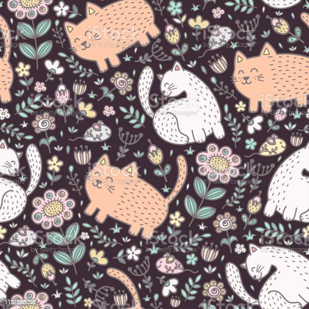 Seamless pattern with cute cats and flowers vector id1137568258?b=1&k=6&m=1137568258&s=612x612&h=tyhhqt6uiija6mc8x7onmyko3at8pfxfcsau2wxdupm=