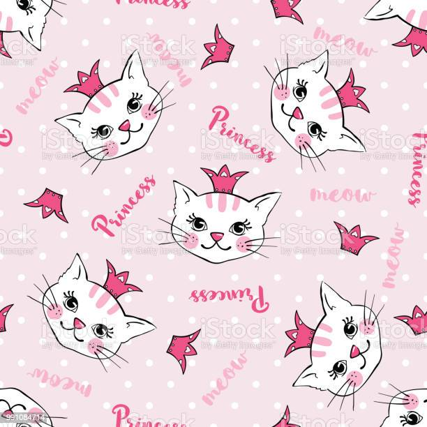 Seamless pattern with cute cats princess isolated on white vector id991084714?b=1&k=6&m=991084714&s=612x612&h=f0euuztuoeadcwjbezwfg yk00vyojgx71xbjugowck=