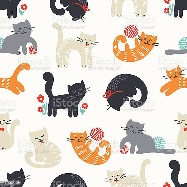 Seamless pattern with cute cats vector id474092108?b=1&k=6&m=474092108&s=612x612&h=qpq84xibipukj4fvl0fklcaysvruu2hy aohyag3g80=