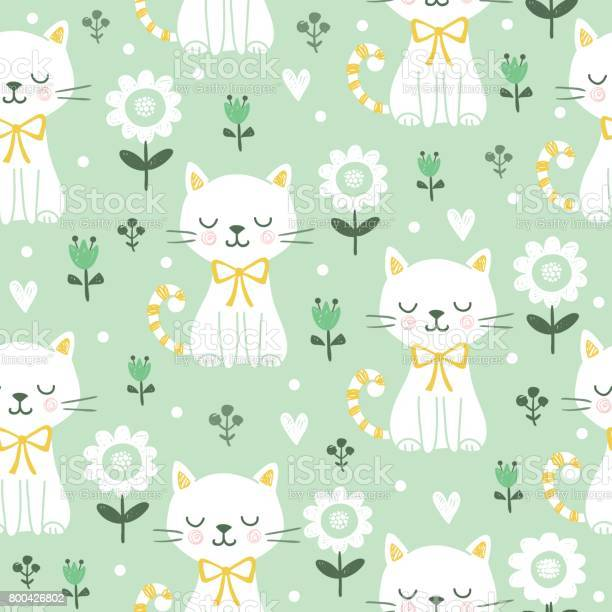Seamless pattern with cute cats vector id800426802?b=1&k=6&m=800426802&s=612x612&h=lgdf0e1cffqq8fivvar 9raohcw4sdfridezik drs4=
