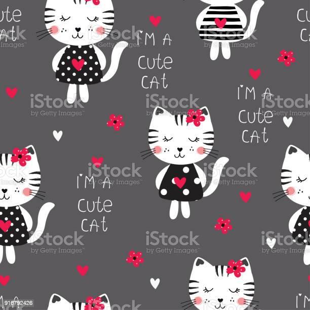 Seamless pattern with cute cats vector id916792426?b=1&k=6&m=916792426&s=612x612&h=h48t047gttv8rk7v1ezspobekth11310fdatojq4iha=