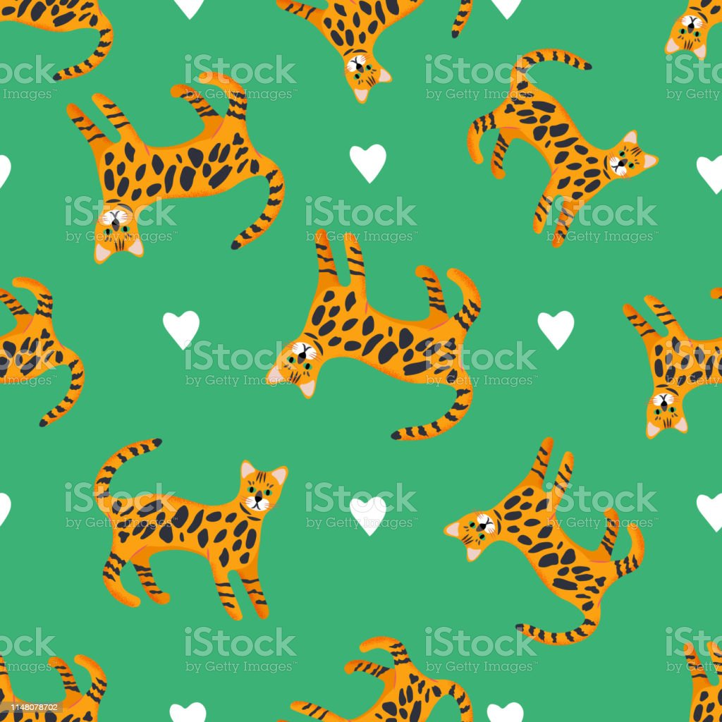 Seamless pattern with cute characters cartoon style of cat....