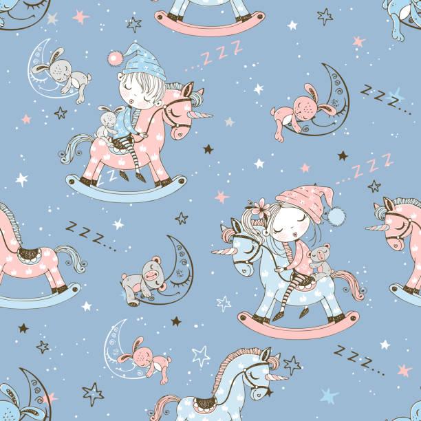 ilustrações de stock, clip art, desenhos animados e ícones de seamless pattern with cute children sleeping on toy unicorns. vector - unicorn bed