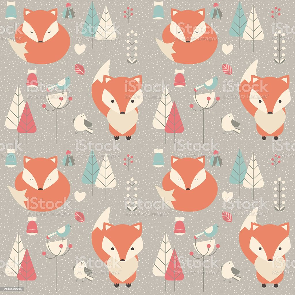 Seamless pattern with cute Christmas baby fox and birds vector art illustration