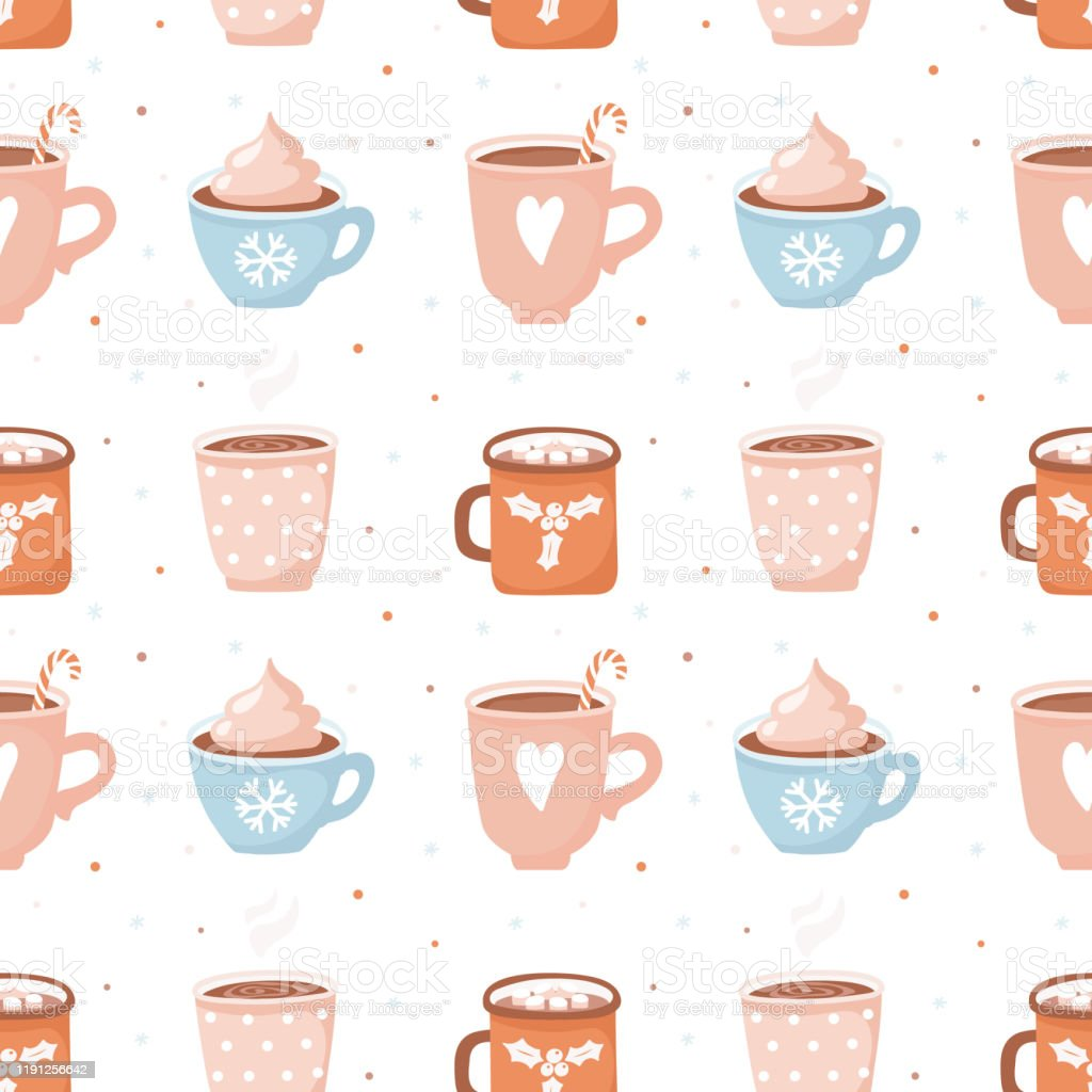 かわいいココアカップとマシュマロとシームレスなパターン繰り返し