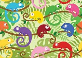 Seamless pattern with cute, colored chameleons. Vector illustration.