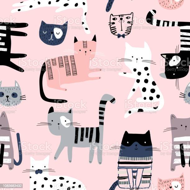 Seamless pattern with cute colorful kittens creative childish pink vector id1083683432?b=1&k=6&m=1083683432&s=612x612&h=fyezpwzqm1vcgay8qe kh8cwv5fxfecvkwfapdnse4y=