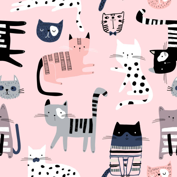 seamless pattern with cute colorful kittens. creative childish pink texture. great for fabric, textile vector illustration - cat stock illustrations