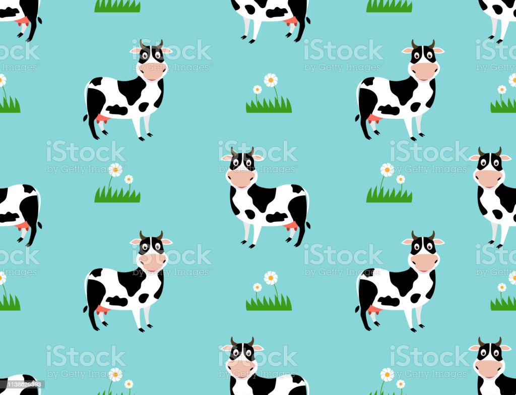Seamless pattern with cute cow cartoon on field background- Vector...