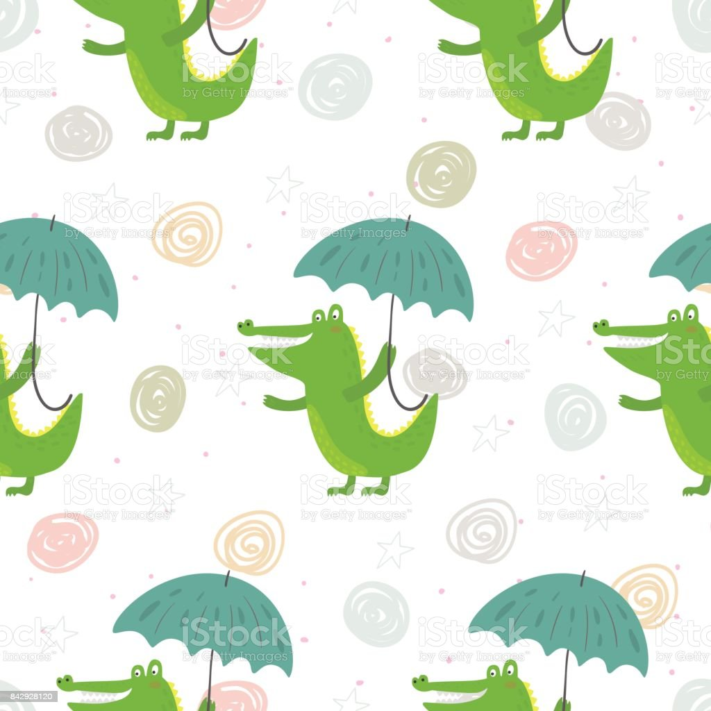 picture about Umbrella Pattern Printable identify Seamless Behavior With Lovely Crocodile And Umbrella Vector