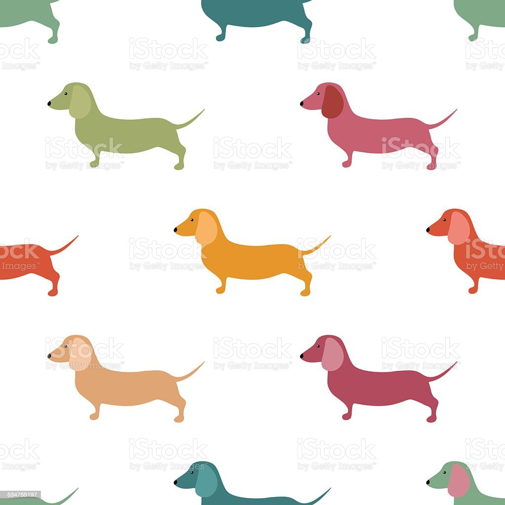 Seamless pattern with cute dachshound dogs. vector art illustration