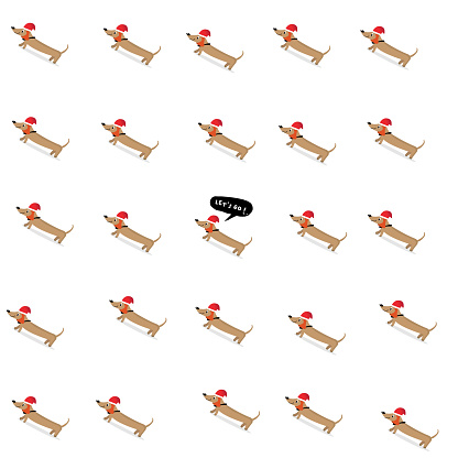 Seamless pattern with cute  Dachshund in simple cartoon style