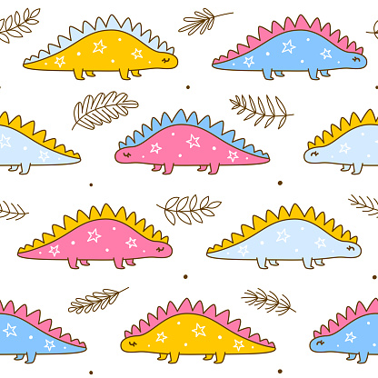 Seamless pattern with cute dinosaurs - cartoon background for children textile and wrapping design