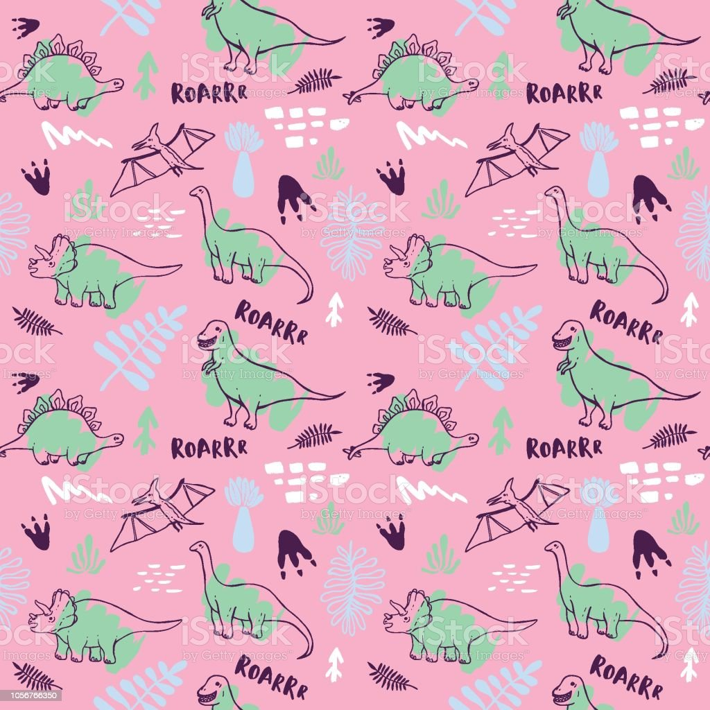 Seamless Pattern With Cute Dinosaurs For Children Textile