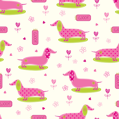 Seamless pattern with cute dog and abstract floral elements