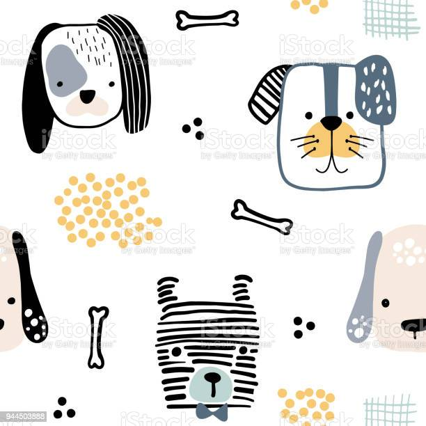 Seamless pattern with cute dog faces and hand drawn elements creative vector id944503888?b=1&k=6&m=944503888&s=612x612&h=og7pnixoqpaxqebdg6o9npe9v3udxlrydxqloi15wka=