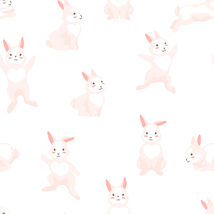 Seamless pattern with cute Easter Bunnies.