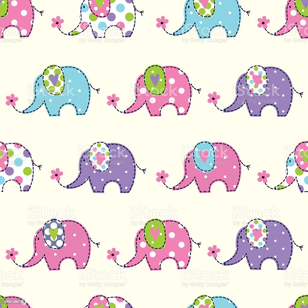 Seamless pattern with cute elephants vector art illustration