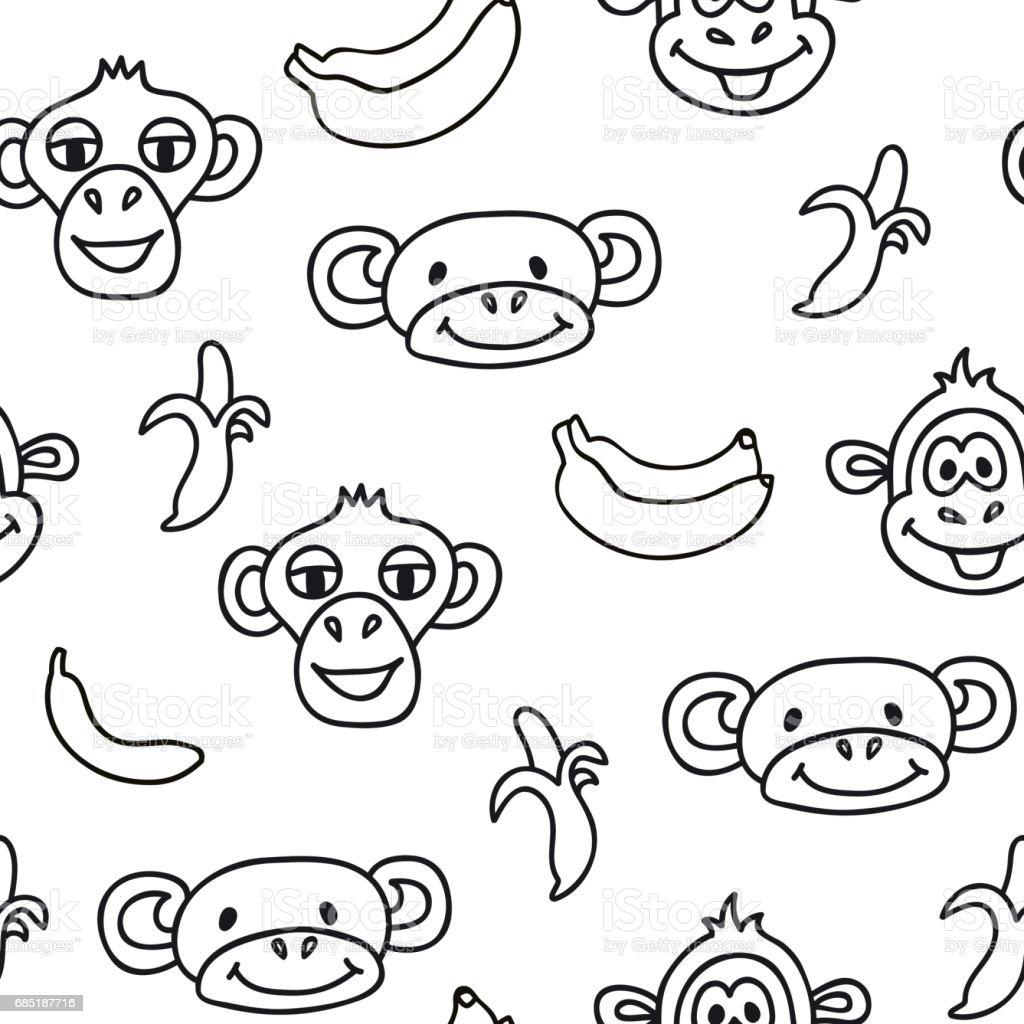Ilustración de Patrón Sin Costuras Con Linda Cara De Los Monos y más ...