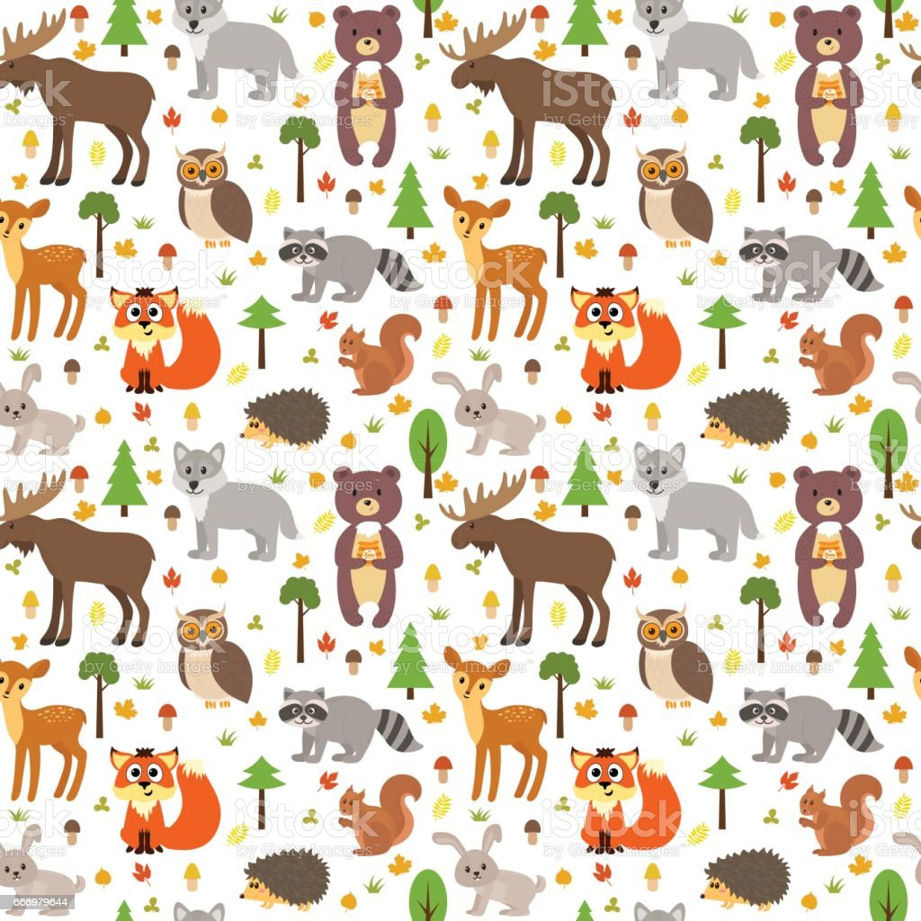 Seamless Pattern With Cute Forest Animals Mushrooms Leaves ...
