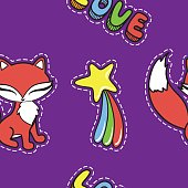 Seamless pattern with cute fox and other stickers isolated on violet background. Vector illustration