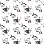 Seamless pattern with cute french bulldog.