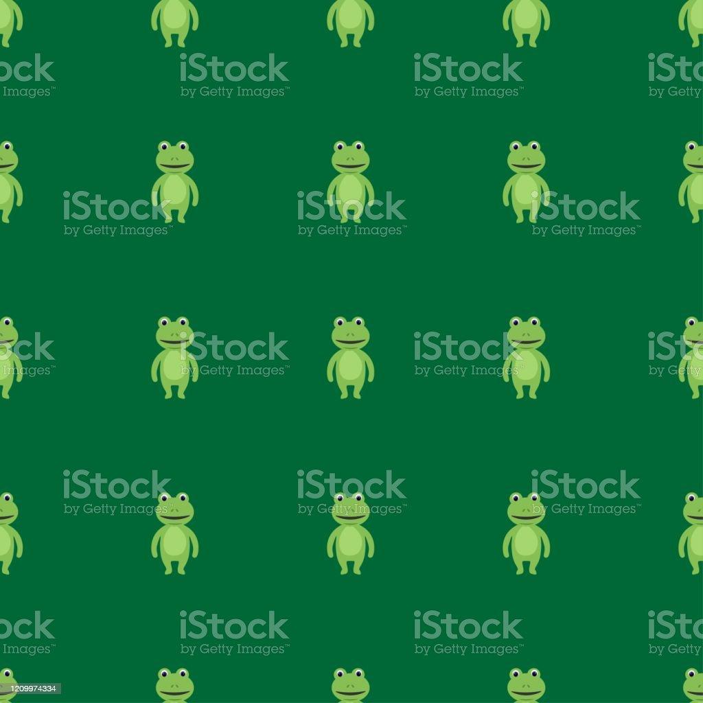 グリーンの背景にフラットなスタイルでかわいいカエルとシームレスな