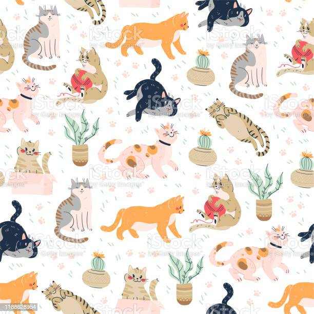 Seamless pattern with cute funny cats different breed isolated on vector id1188628954?b=1&k=6&m=1188628954&s=612x612&h=zuo0hh0dv5cmduyn dryxf1l9zsrehchq1 nyfrgy8y=