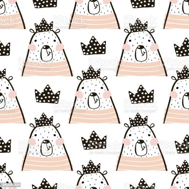 Seamless pattern with cute girl bear bears princess perfect for vector id840586504?b=1&k=6&m=840586504&s=612x612&h=pov9ztwovf68jsmlp2i69fgr1lmklsxjxefqcvinyky=