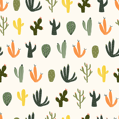 Seamless pattern with cute hand drawn cacti with thorns. Cozy hygge scandinavian style template for fabric, packaging, kids t shirt design. Vector illustration in flat cartoon style