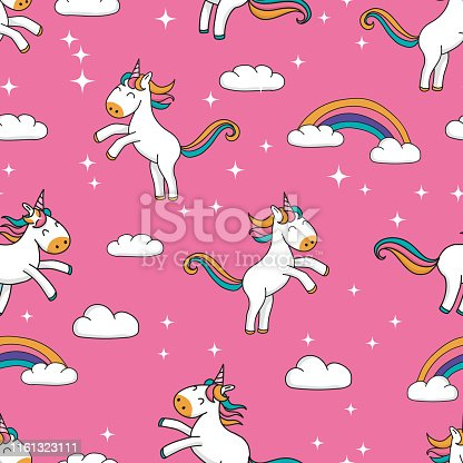 Seamless pattern with cute hand drawn cartoon unicorns and rainbow design on pink glitter background - sweet repeat background great for textiles, banners, wallpapers