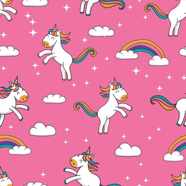 stockillustraties, clipart, cartoons en iconen met naadloos patroon met schattige hand getekend cartoon eenhoorns en rainbow design op roze glitter achtergrond-sweet repeat achtergrond groot voor textiel, banners, wallpapers - teenager animal